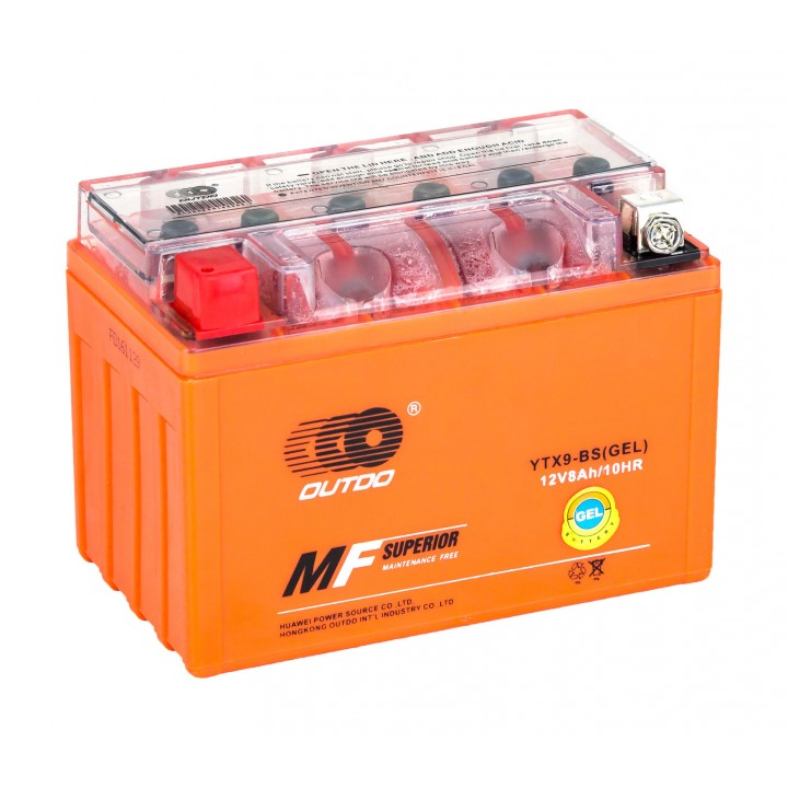 Аккумулятор MOTO YTX 7A-BS(GEL) OUTDO (12V, 7A) (оранж)